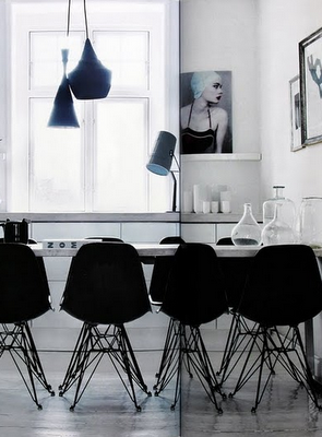 Black and white dining space.
