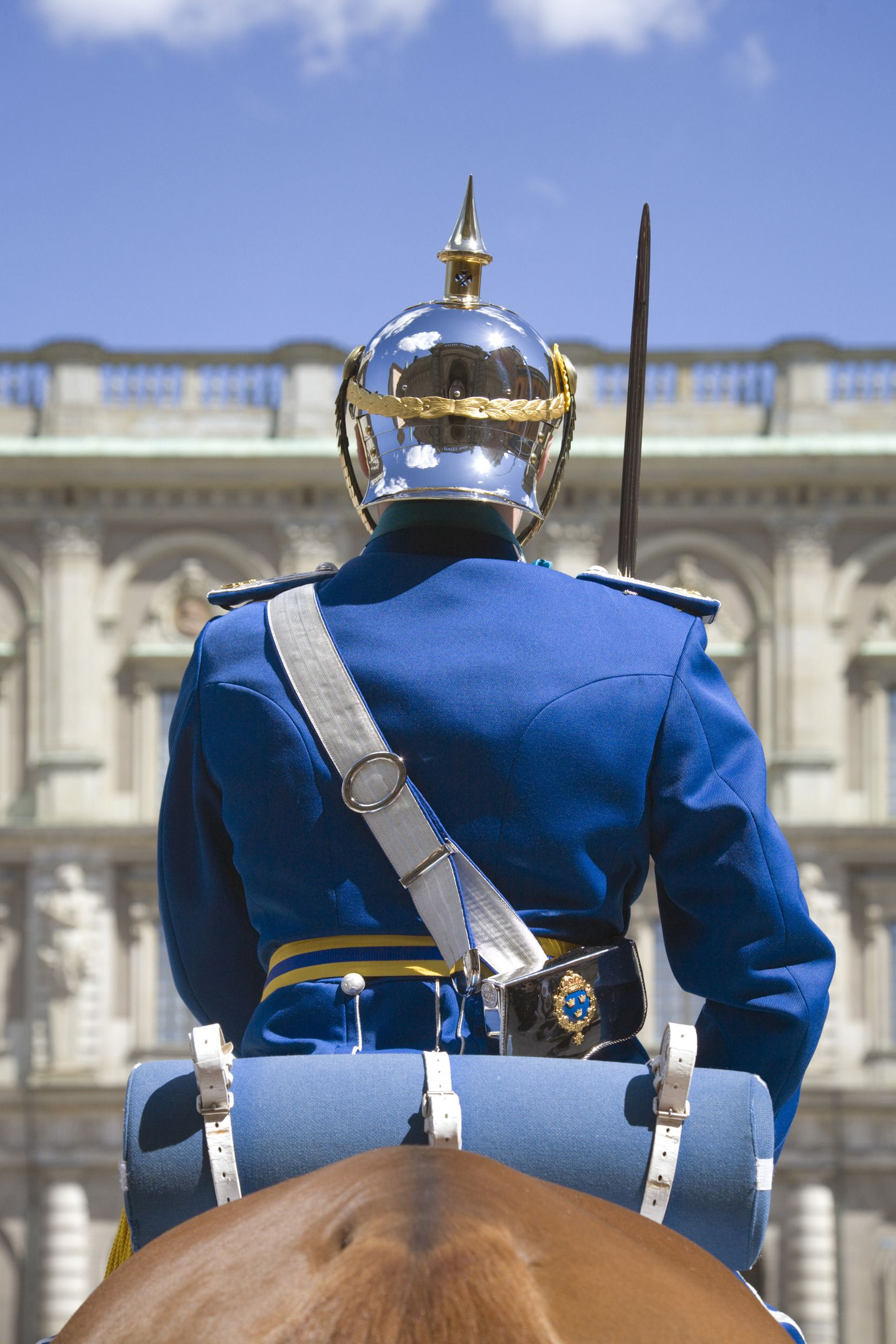 The Royal Palace in Stockholm is guarded 24/7 all year around by guards. The change of guards are performed in majestic character and has become a big tourist attraction. Photo by Ola Ericson