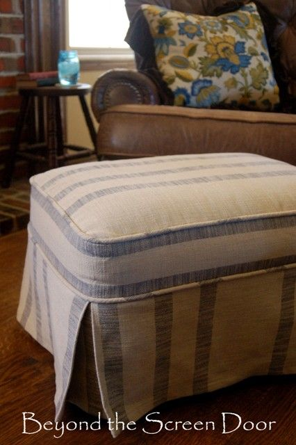 Before After Ottoman Slipcovers Slipcovers For Chairs Ottoman Slipcover Furniture Reupholstery