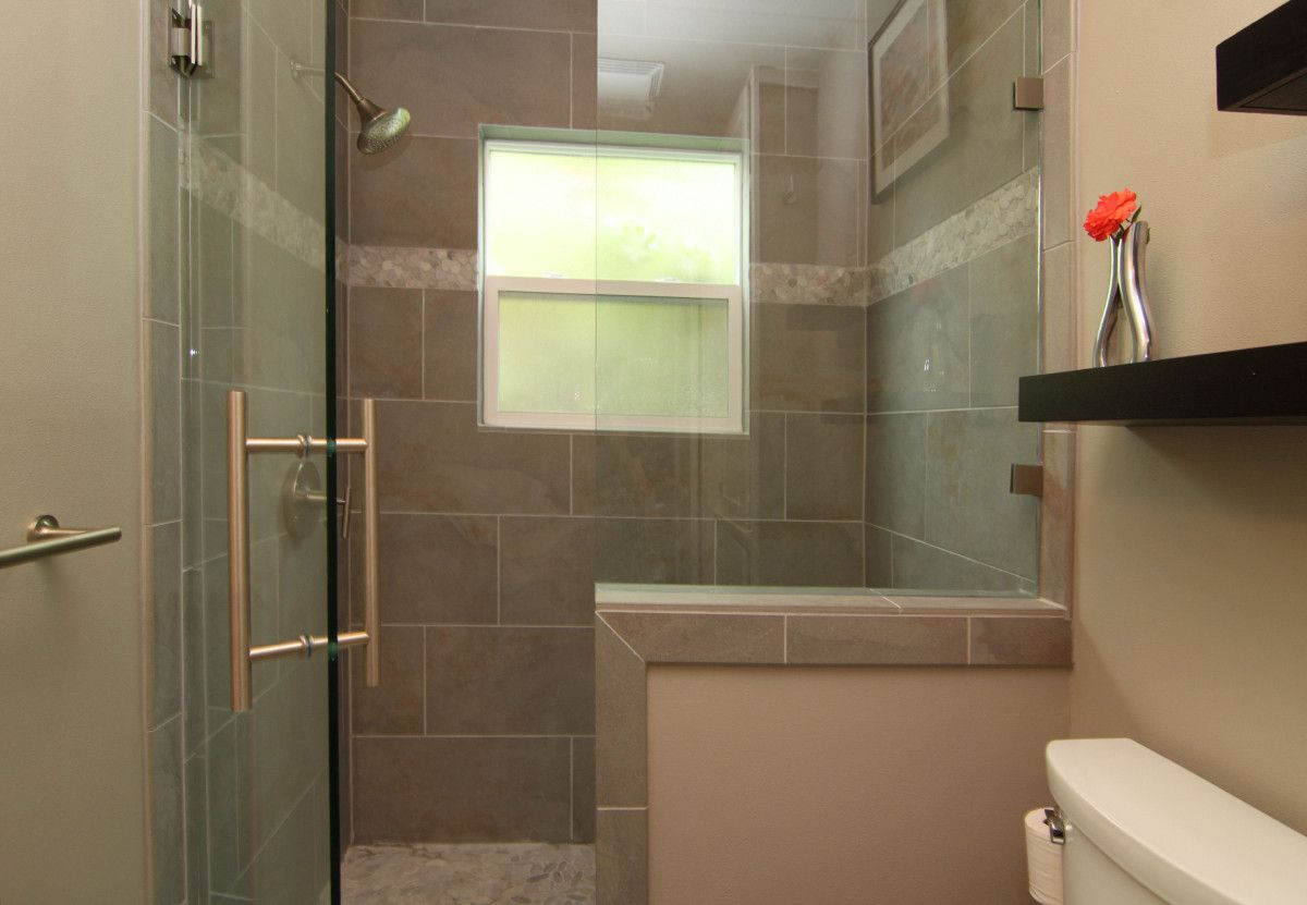 We Also Built A Half Wall And A Shower Bench For The Shower