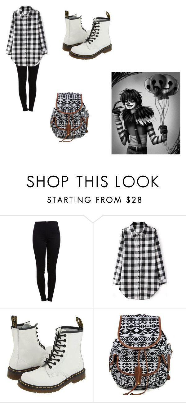 """""""Laughing Jack First day of human school"""" by grinning-lillie ❤ liked on Polyvore featuring Pieces, Dr. Martens, fanfiction and creepypasta"""