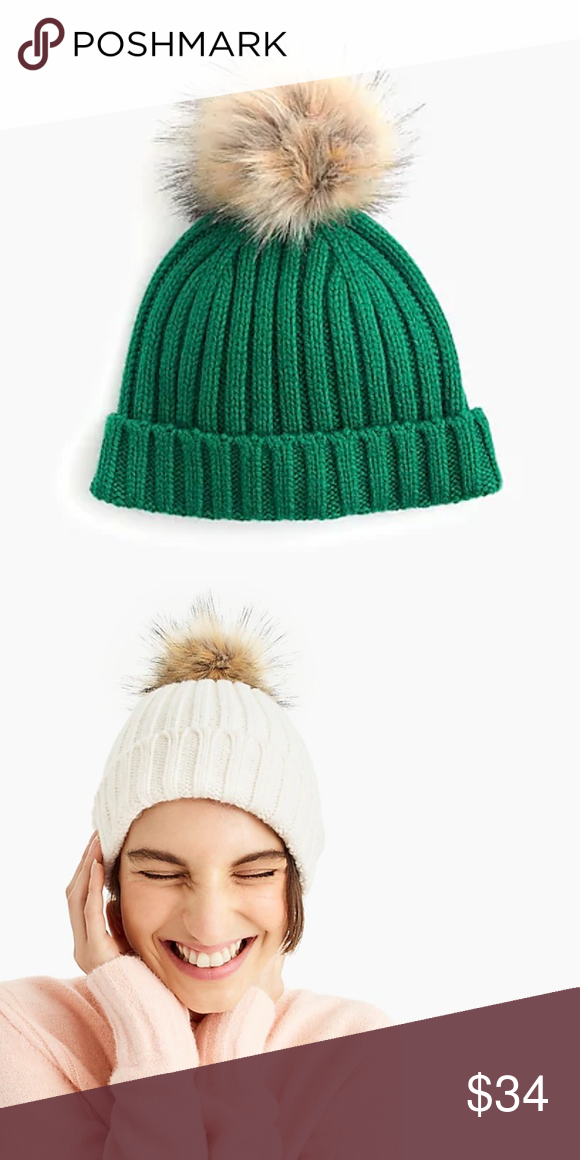 96fd09826fbc4c J. Crew Ribbed beanie with faux-fur pom-pom NWT, Color: ALPINE MEADOW On  our list of stylish yet cozy winter essentials? The perfect beanie, with a  cute ...