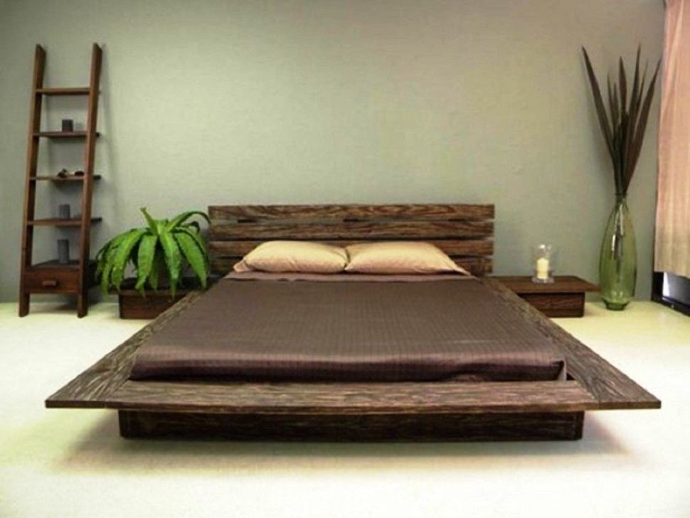 Bedroom Fascinating Clic Style Wooden King Anese Platform Bed With Diy Also Gl Candle Holder And Plant In Pot Vase Feat