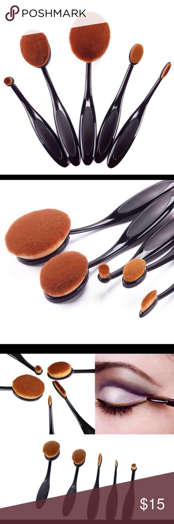5 pcs Foundation Oval Brushes Set. 5 Pcs Cosmetic Oval