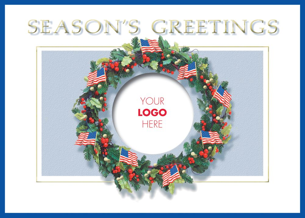 Patriotic Wreath Logo - Holiday Greeting Cards- Add your personal or ...