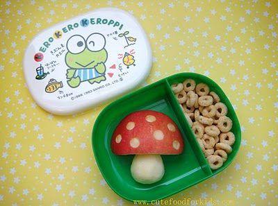 Lanches divertidos para crianças: maçã cortada em formato de cogumelo