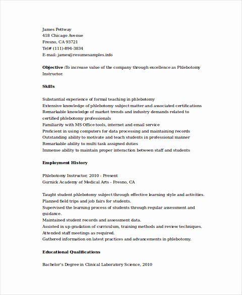 25 entry level phlebotomist resume in 2020  with images