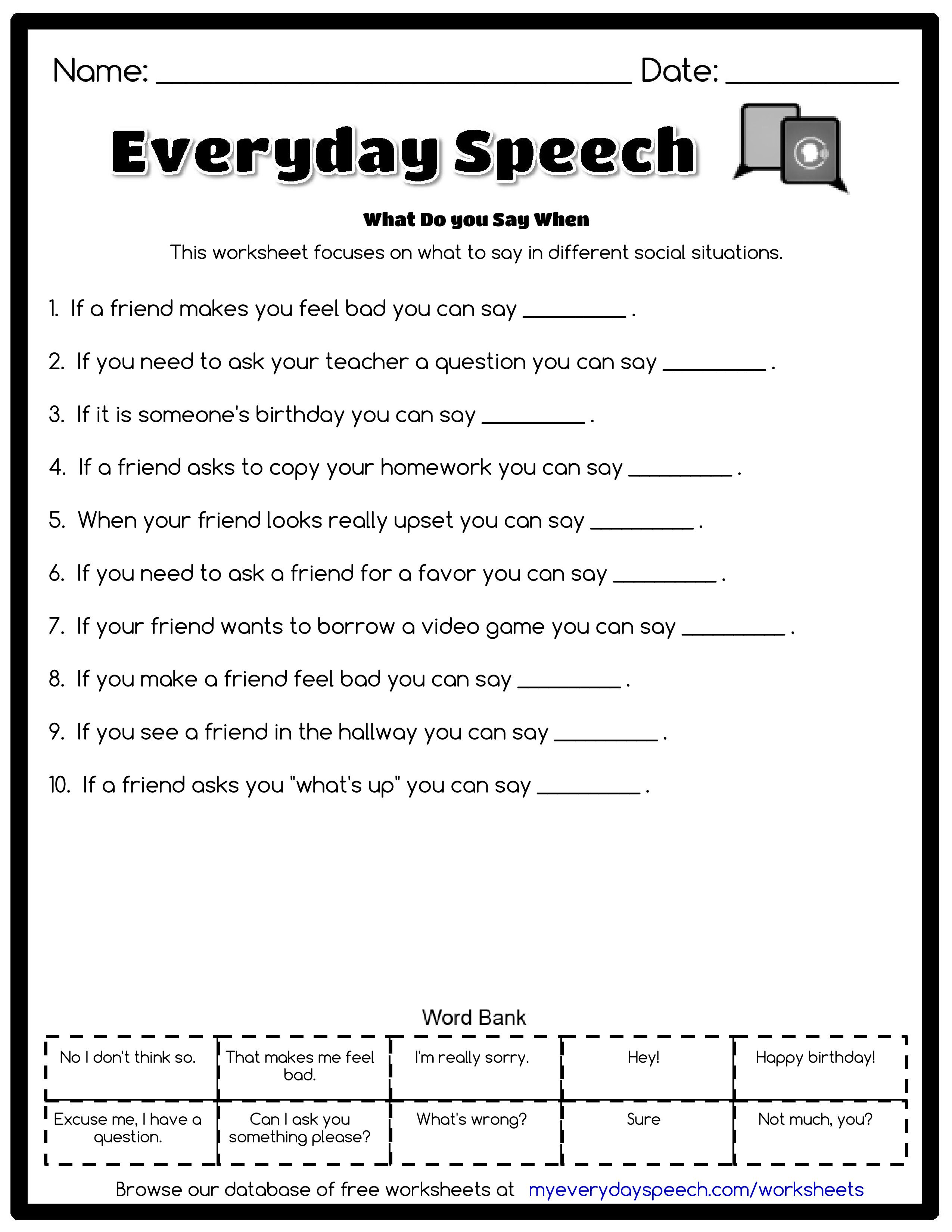 This worksheet focuses on what to say in different social situations ...