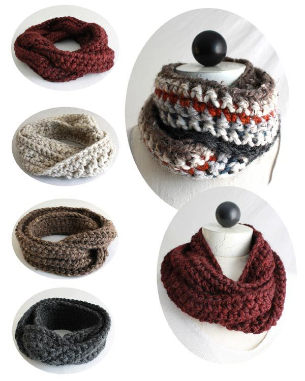 30-Minute Infinity Scarves Crochet Patterns | Tejido