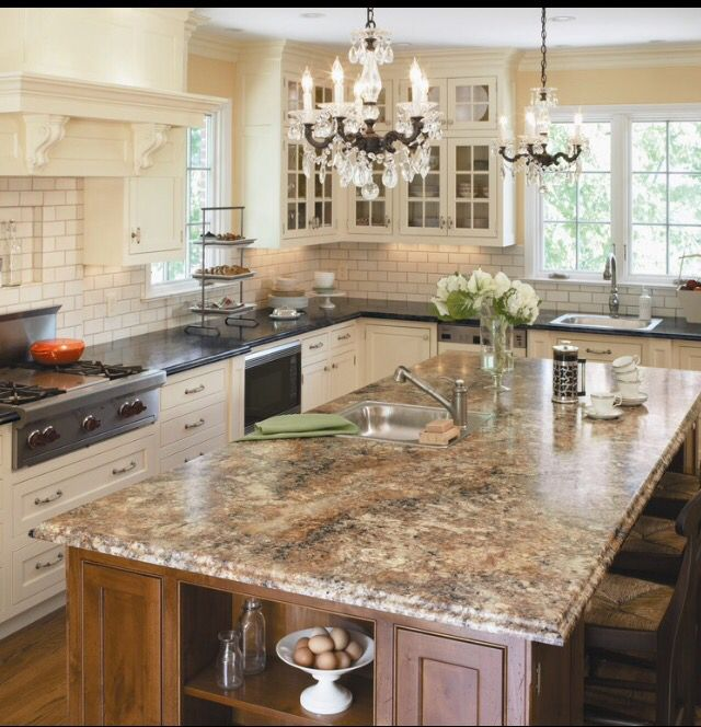 Chandelier Mismatched Islandcountertops Light And Airy