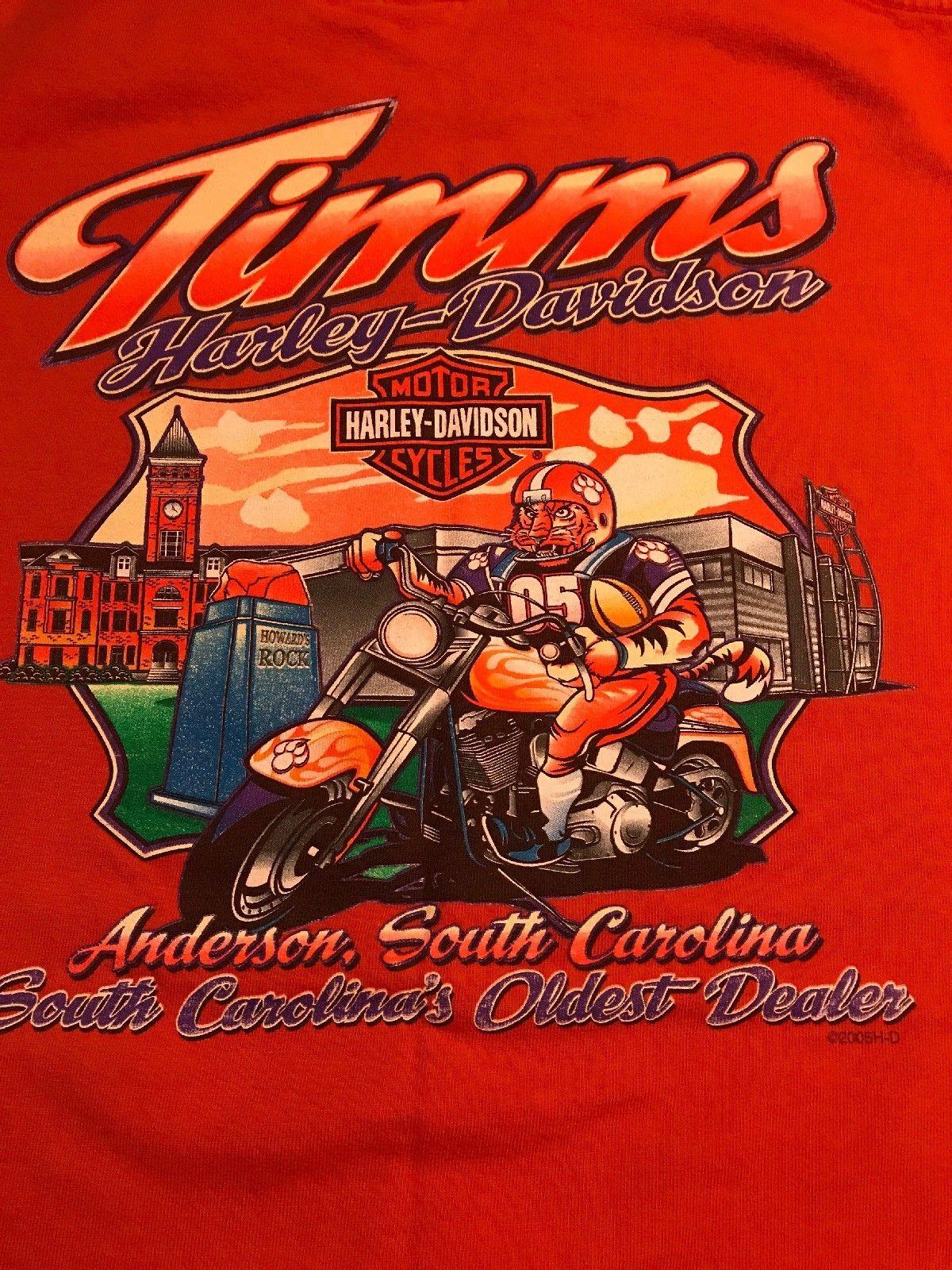 Timms Harley Davidson Anderson Sc Men S Large L Orange Clemson Tiger