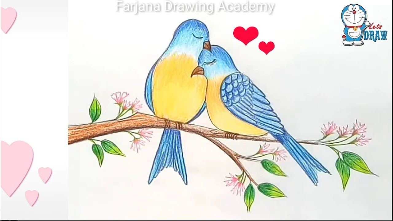 How To Draw Two Birds In Love Step By Step Bird Drawings Love Birds Drawing Cute Easy Drawings