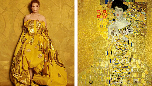 """Julianne Moore as """"Famous Works of Art"""" by Peter Linderbergh - for Harper's Bazaar    Seated Woman With Bent Knee by Egon Schiele, La Grande Odalisque by Ingres, Saint Praxidis by Vermeer, The Cripple by John Currin, Les danseuses by Edgar Degas, Madame X by John Singer, Girl with a Pearl Earring by Vermeer, Woman With a Fan by Modigliani, Man Crazy Nurse #3 by Richard Prince, Adele Bloch Bauer I by Gustav Klimt."""