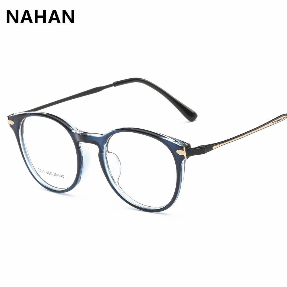 f353b03fc1 TR90 Retro Round Plain Mirror Glasses Frame for Man Women PC Titanium and  Cooper Lenses Decoration Glasses