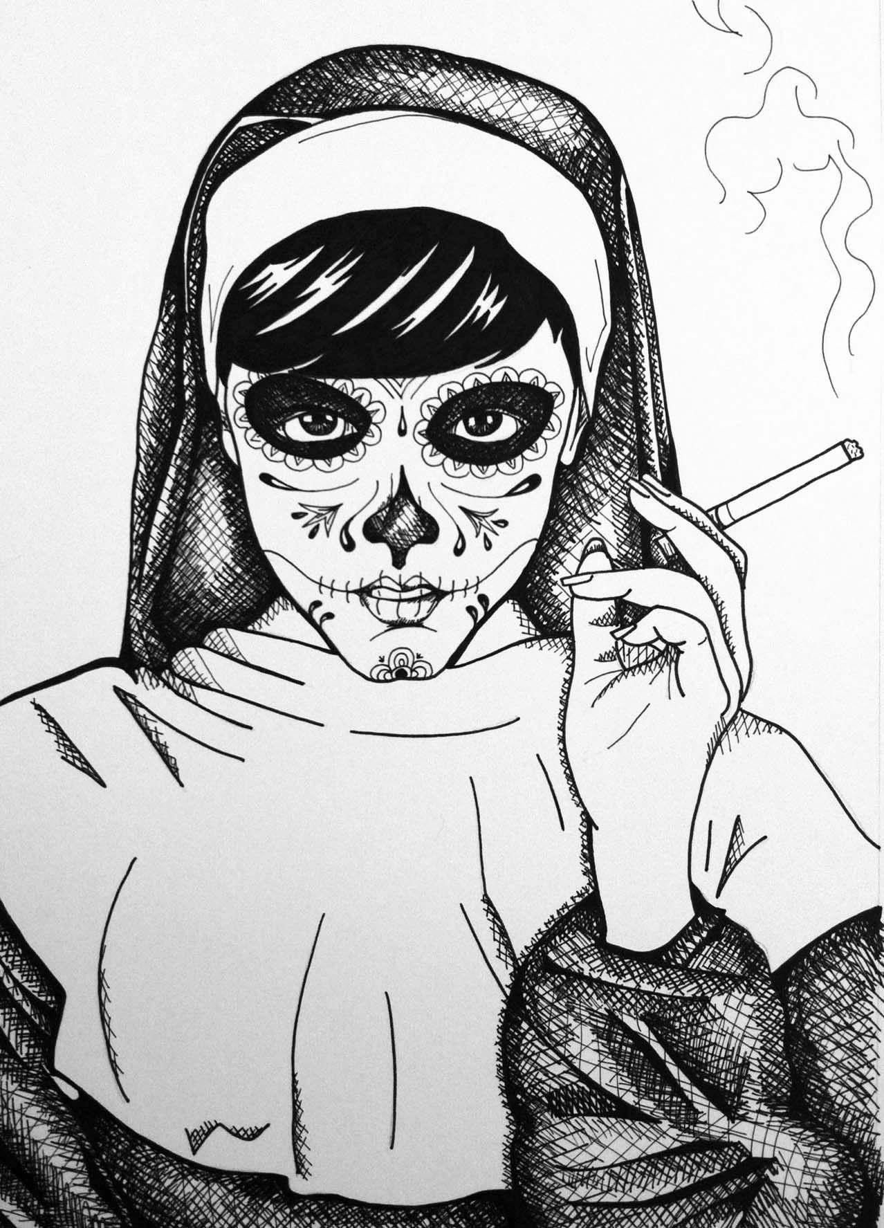 The Smoking Nun ink drawing.
