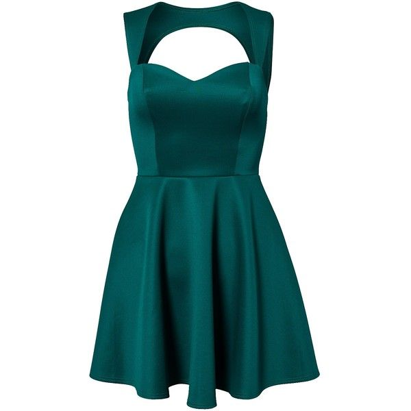 Nly One Keyhole Back Dress (140 BRL) ❤ liked on Polyvore featuring dresses, vestidos, short dresses, party dress, green, womens-fashion, blue cocktail dress, blue mini dress, green skater skirt and blue green dress