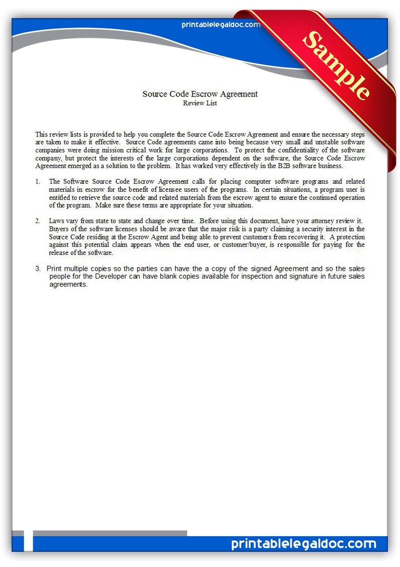 Free Printable Source Code Escrow Agreement Legal Forms