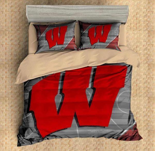 Custom Wisconsin Badgers Bedding Set Duvet Cover 4pcs Flat Sheet Pillowcases Three Lemons