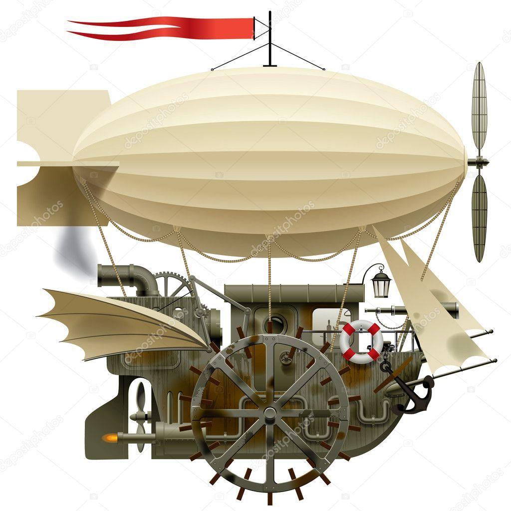 Scarica Immagine isolata del vettore della nave volante fantastica  complessa con macchinari, dirigibile, vela, Ali, acqua-volante… | Nave,  Immagini, Barche di legno