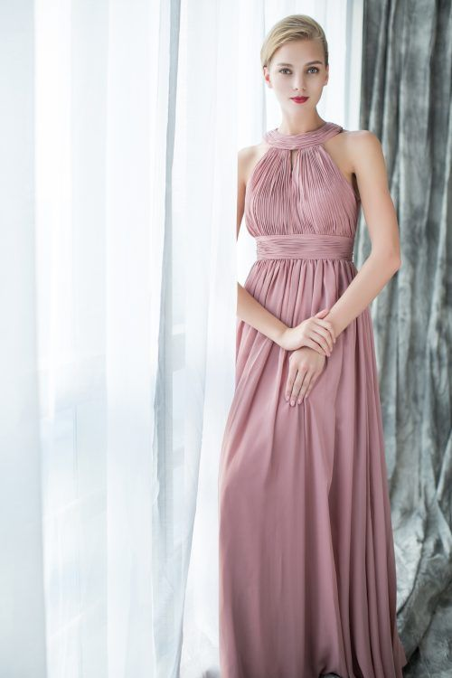 Gorgeous Halter Floaty Chiffon Bridesmaid Gown With Keyhole Back