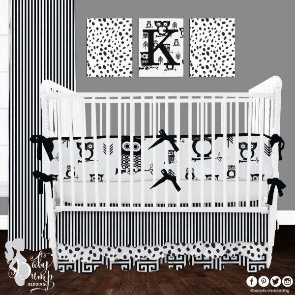 Black And White Owl Designer Created Crib Set Gender Neutral
