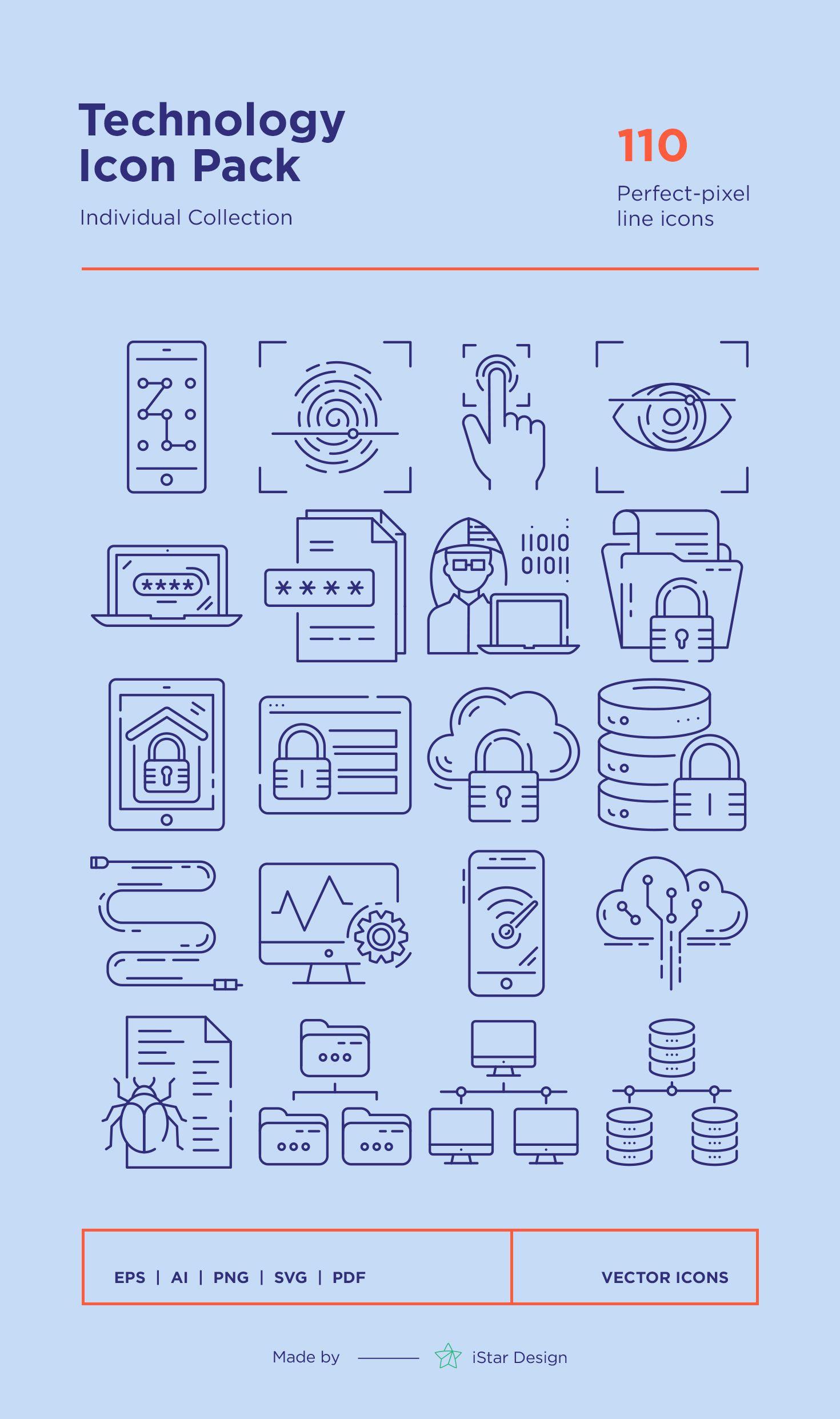 Technology Icons Set в 2020 г
