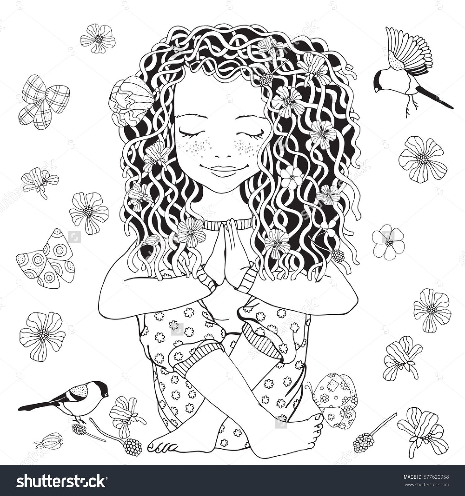 Coloring pages yoga - Cute Girl In Yoga Pose Adult Coloring Page Black And White Vector Illustration