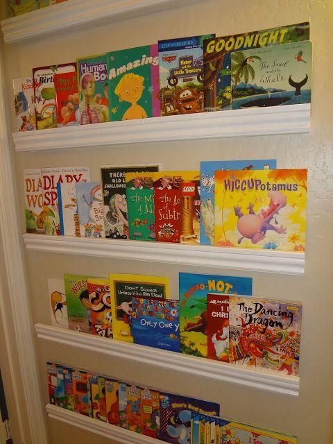 forward facing bookshelf using 2x2's and trim | Playroom Ideas ...