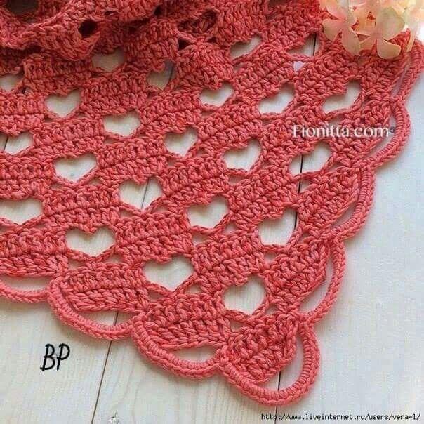 Heart Pattern Shawl | Crochet | Pinterest | Chal, Tejido y Ganchillo