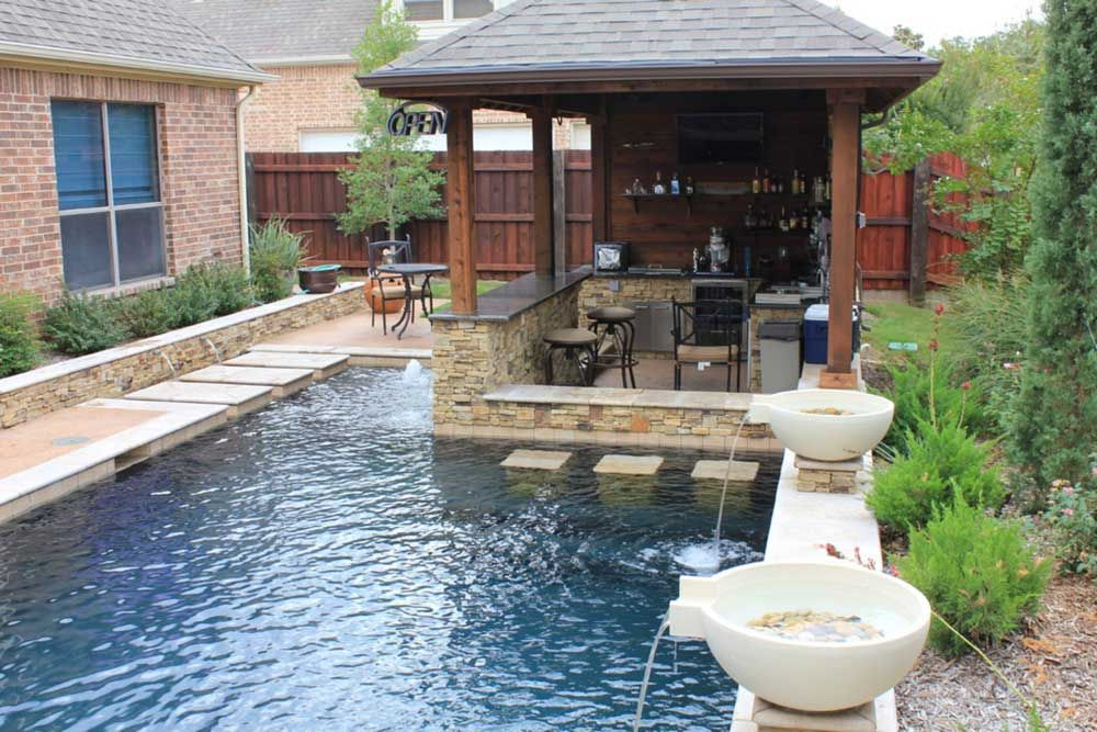 Swimming Pool Fountain Ideas 50 landscaping ideas for a stunning backyard rectangular poolpool fountainwater Pool Fountain Design Ideas With Waterfall And Modern Gazebo Design
