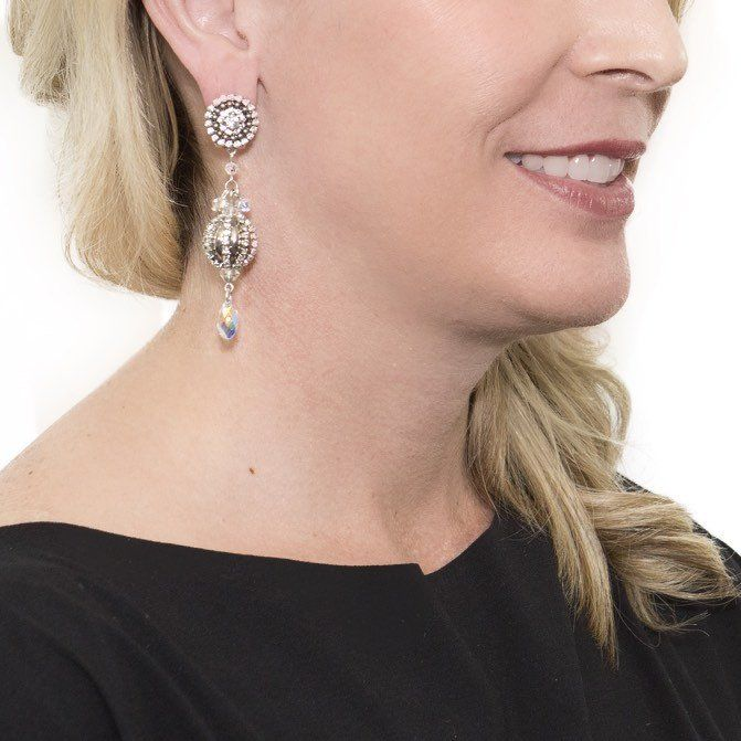 Crystal Ball Drop Earrings by DUBLOS Curated jewelry from around the globe!