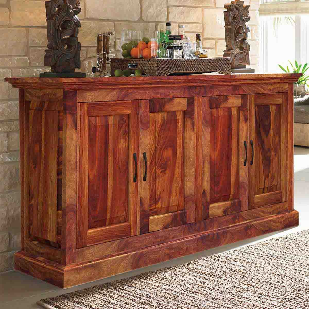 This Rustic Buffet Is Built With Genuine Solid Wood Which Is Known For Beautiful Grain Pattern And Su Dining Room