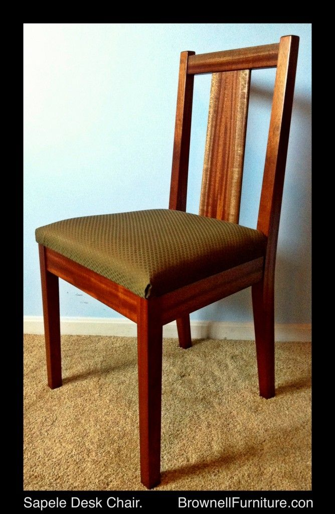 SAPELE DESK CHAIR:  shorter back with book matched support make this durable and practical for long study sessions.