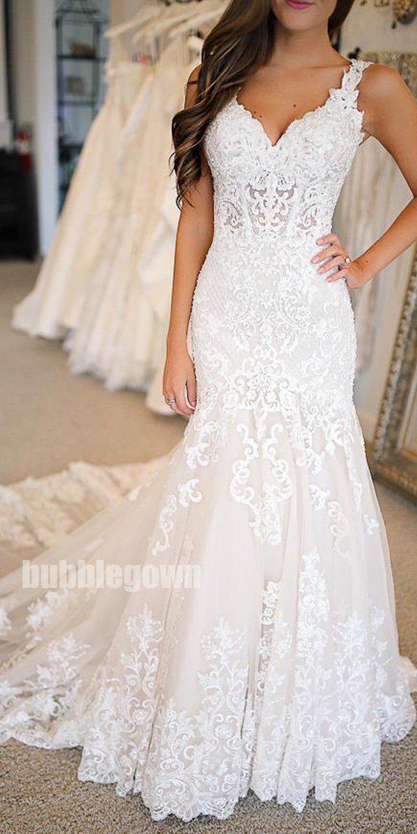 Mermaid Lace Applique Elegant Bridal Long Wedding Dresses, BGP265