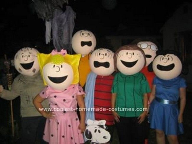 coolest homemade peanuts cartoon costumes awesome group costume - Great Group Halloween Costume Ideas