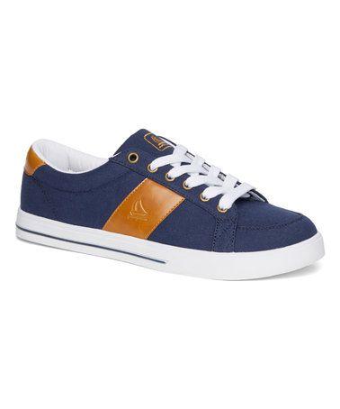 Look what I found on #zulily! Navy & Gold Stripe Port Sneaker - Men #zulilyfinds