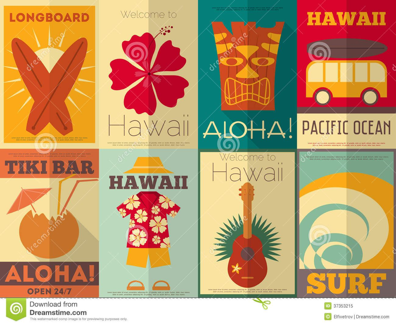 Poster design for free - Retro Hawaii Posters Collection Royalty Free Stock Photo Image