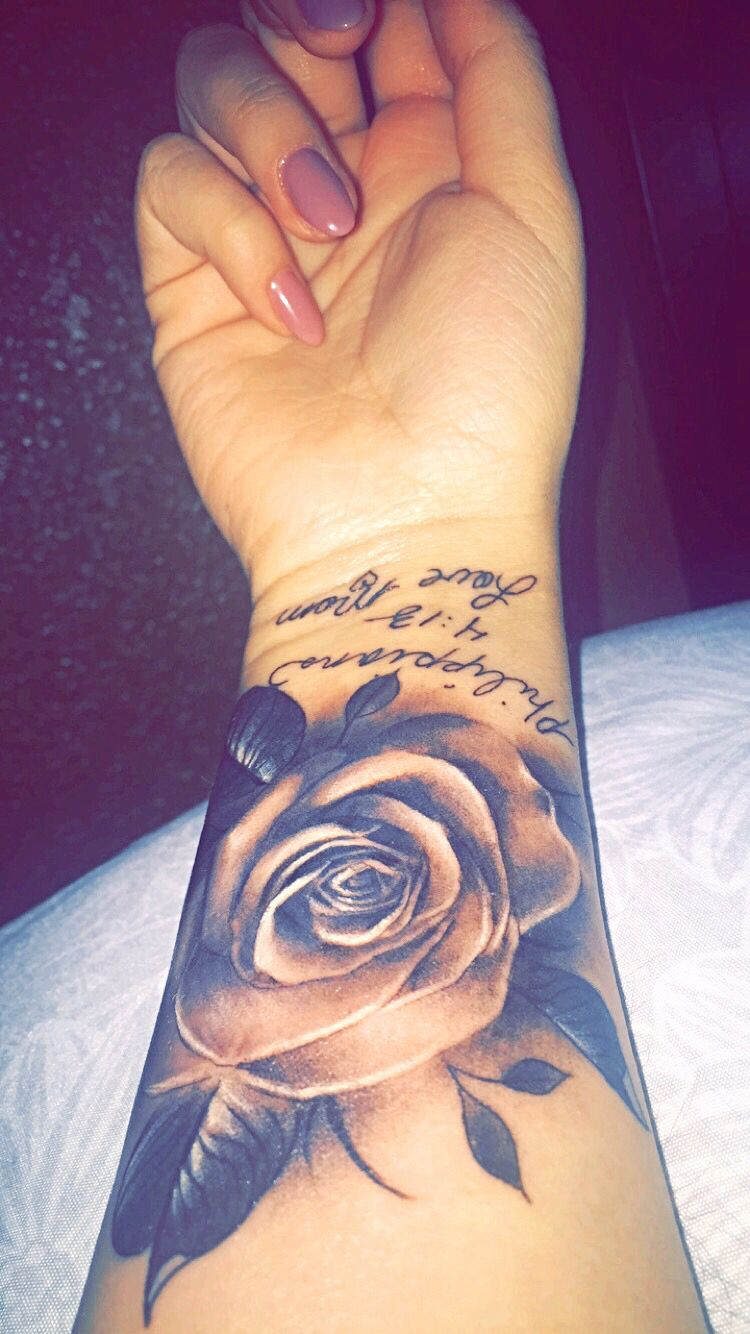 605698b99 Tattoo that I got for my mom! I absolutely love that the Rose looks  realistic! #tattoo #rose #wrist