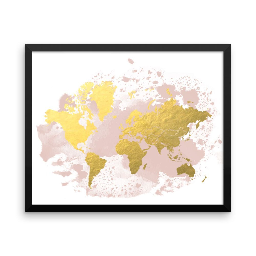 Framed world map blush gold products pinterest map wall framed world map blush gold gumiabroncs Choice Image