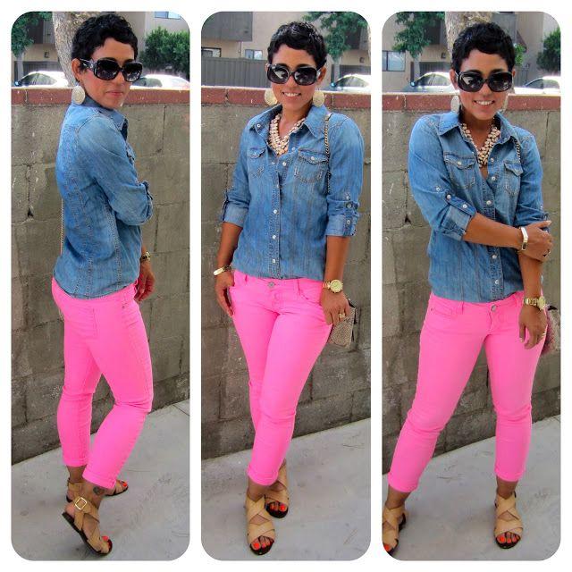 i'd rock: pink jeans (f21). denim shirt (target).   i could do ...