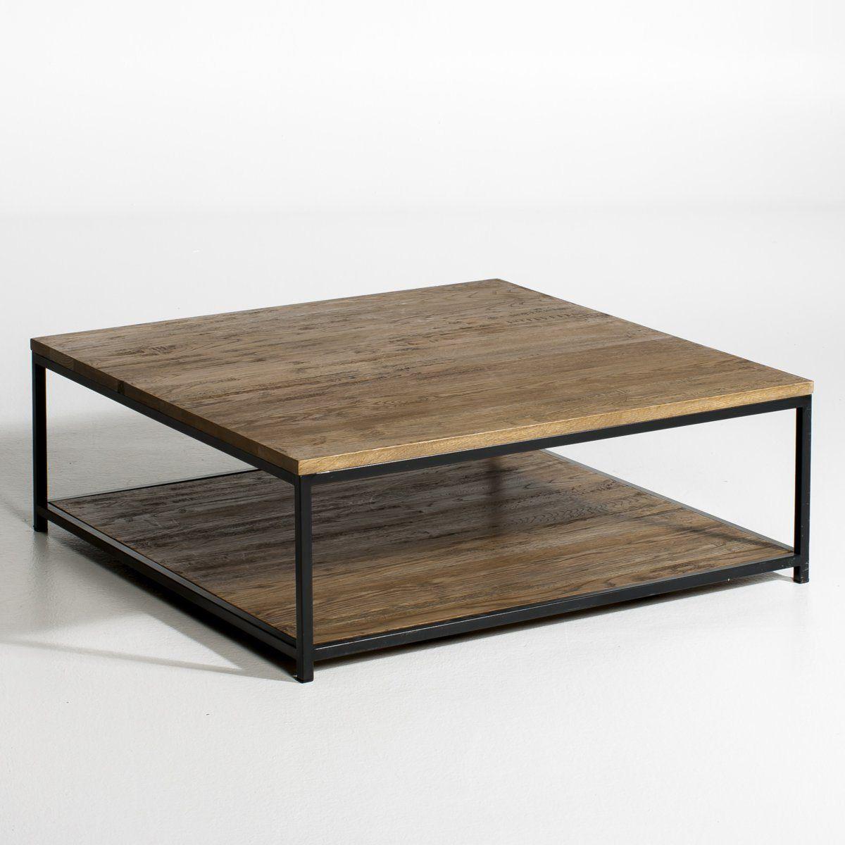 Table Basse Chene Et Metal Aranza 2 Tailles Table Basse Chene Table Basse Idee Table Basse