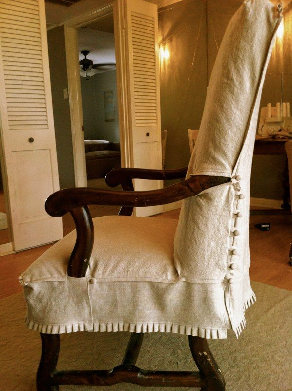 Chair Slipcover With Exposed Arms Pleats On Bottom And Buttons Back Sides Furniture SlipcoversUpholstered FurnitureDining Room