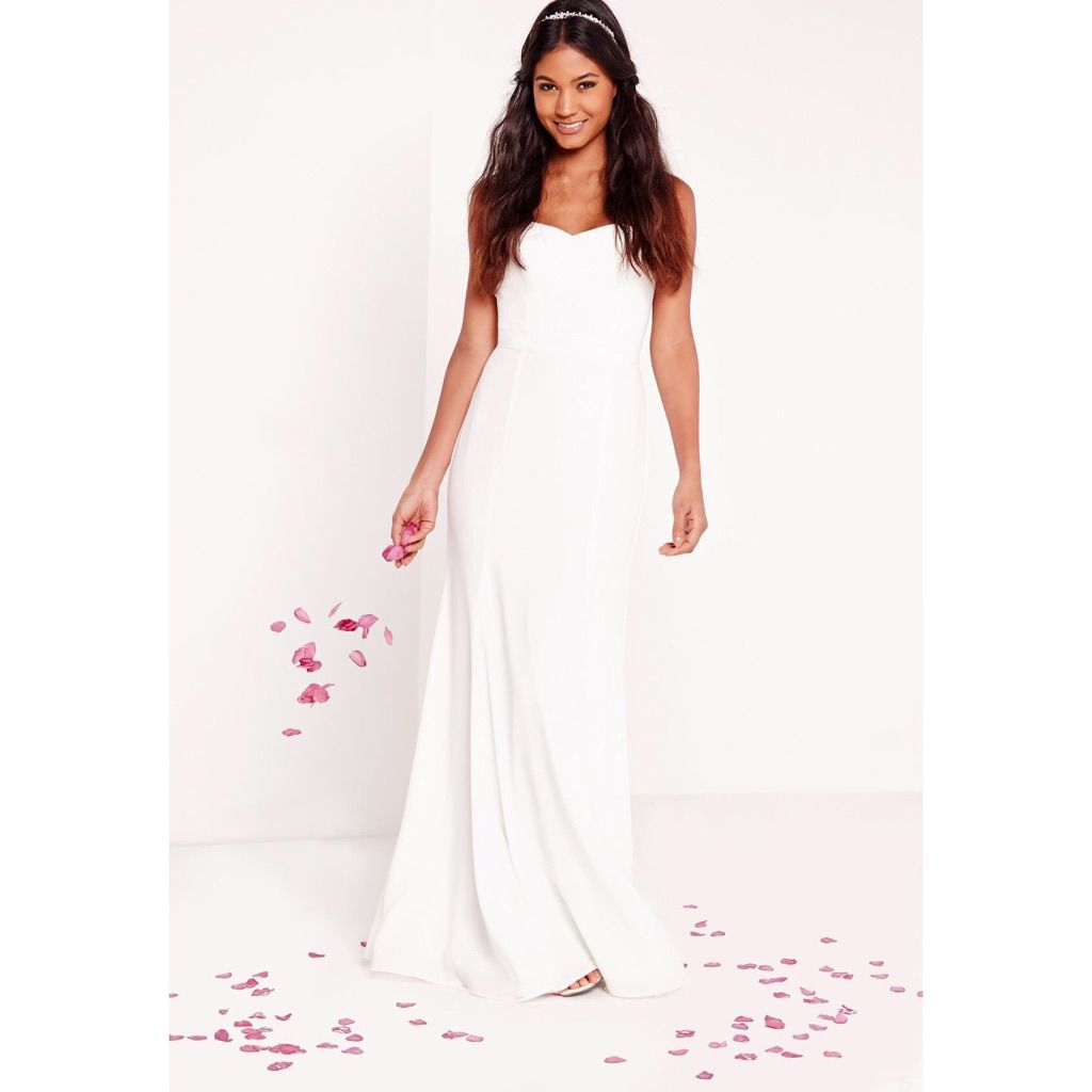 New Size 2 Strapless Misguided White Maxi Wedding | Products