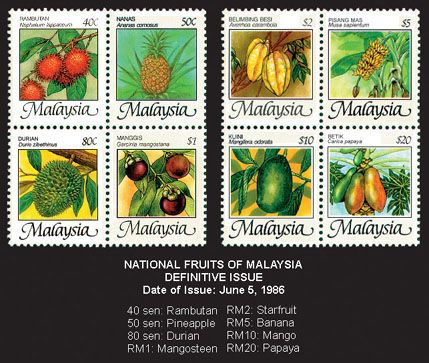 Malaysian Definitive Issue National Fruits Of Malaysia Postage Stamp Design Malaysia