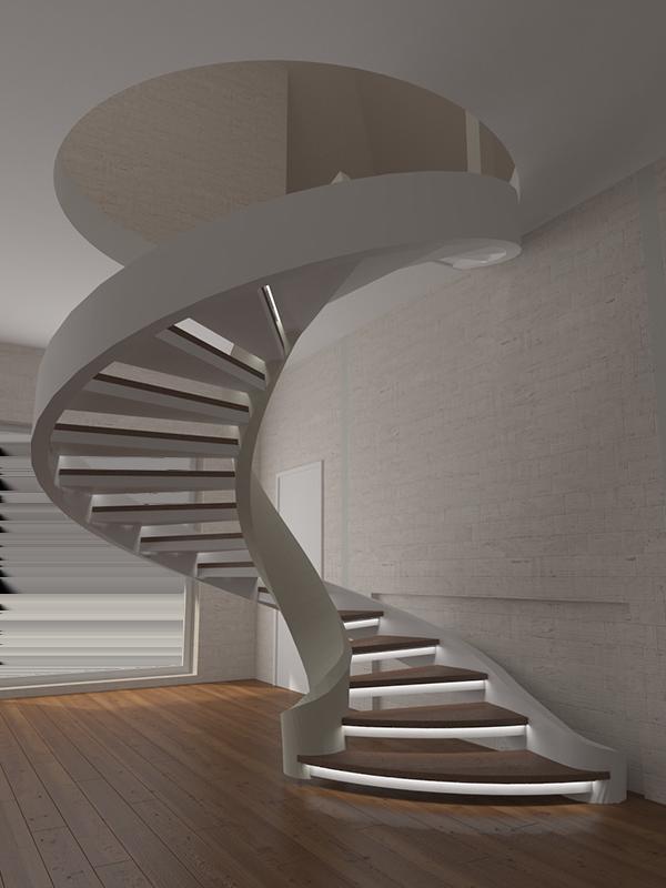 винтовые лестницы на второй этаж из бетона