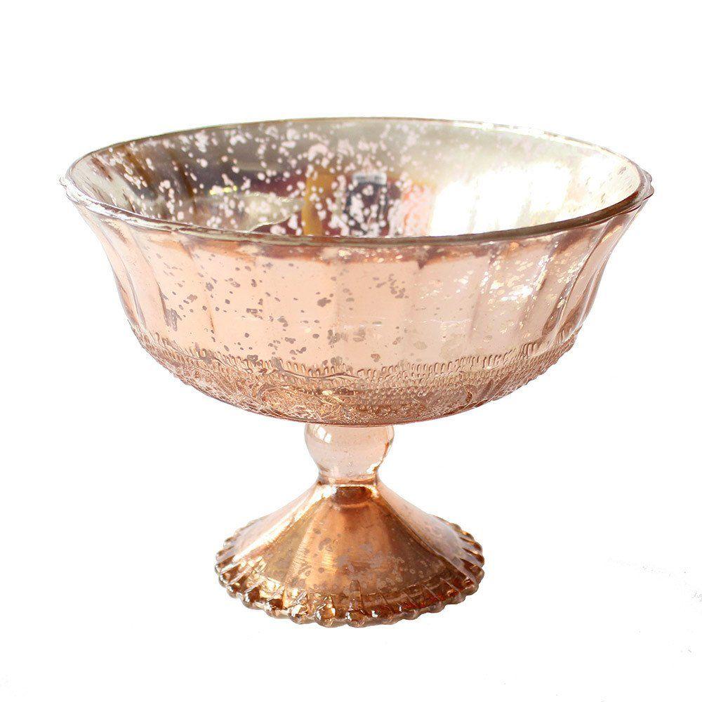 Wedding Decoration Mercury Glass Compote Bowl in Blush Copper - 5 ...