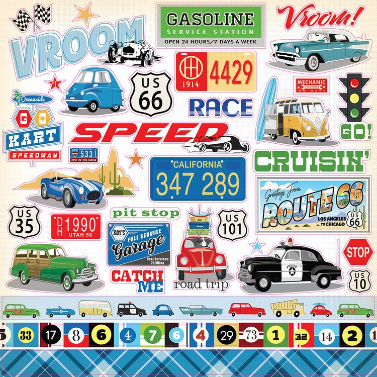 4 Sheets SPEED RACER Scrapbook Stickers!