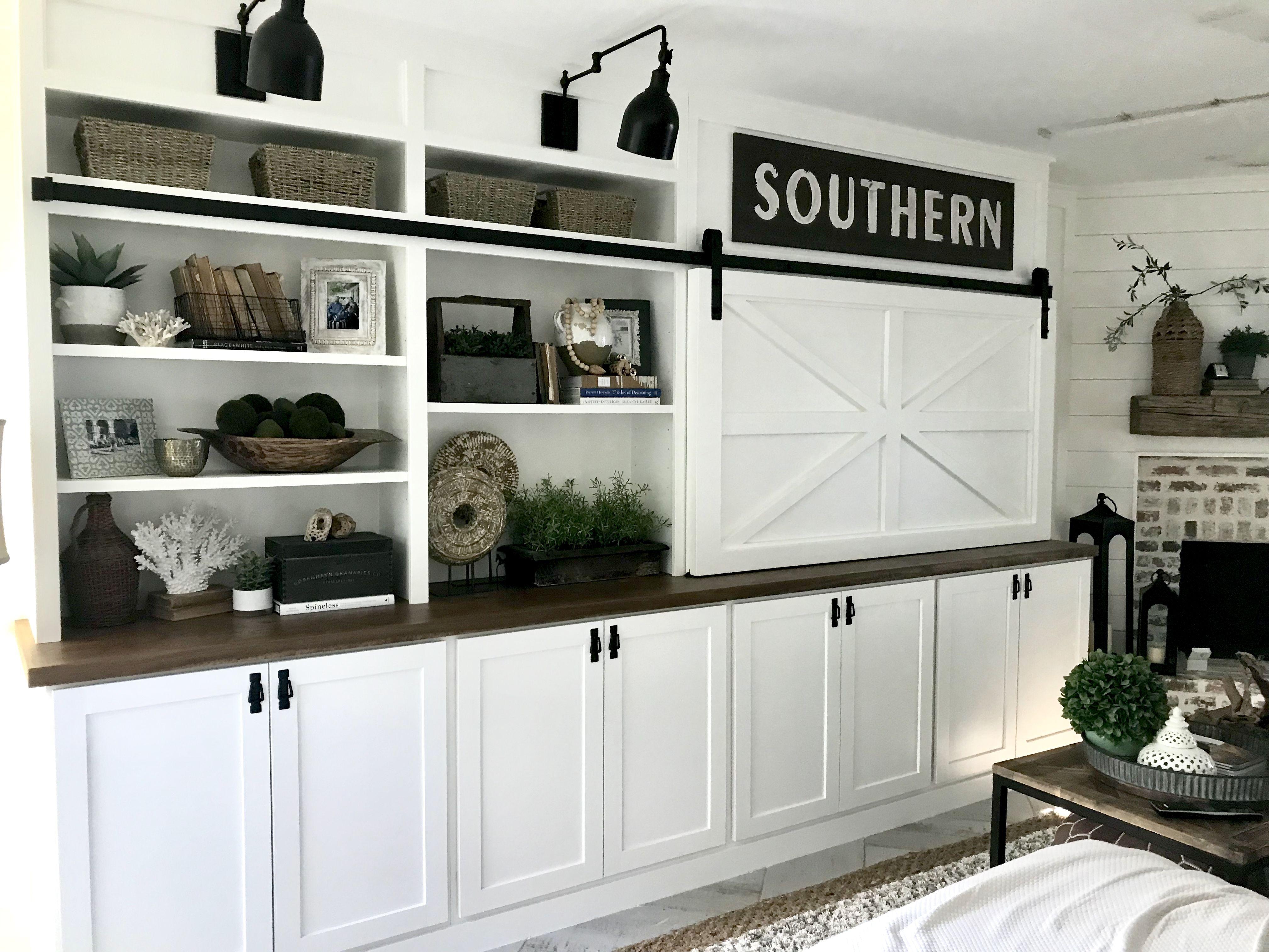 Custom diy builtinsliving room barn door tv