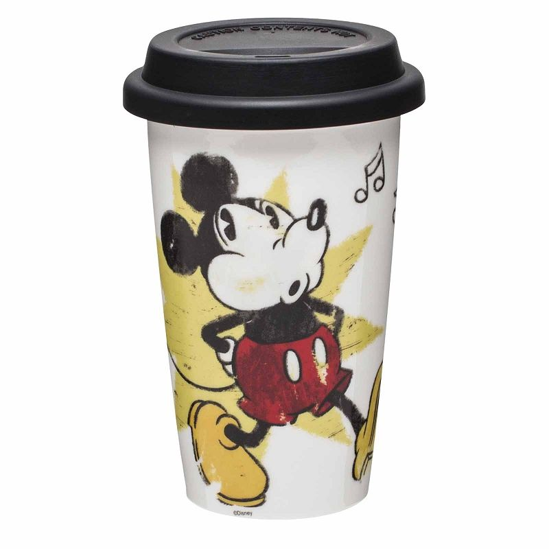 Mickey Mouse Ceramic Coffee Travel Mug Front View