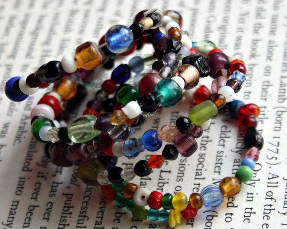 Multi Colored Glass Beaded Bracelet  Hippie by RandomVoyeurVintage, $10.00